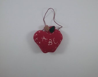 Apple for teacher / accent/ornament/hand stitched