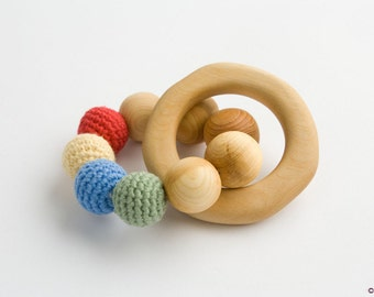 Rainbow #2 Teething Wood Ring - Wood Rattle Toy, New Baby Gift, Baby Shower Gift, Newborn - TR07