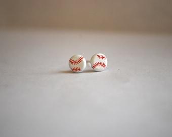 Tiny Baseball Studs -- Earrings, White Baseballs, Silver, Sports, Athletic