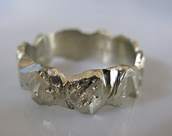 Unique Mens Wedding Band 14k White Gold Ring Mens Wedding Bands Viking Wedding Ring Unique Wedding Ring Rustic Wedding Band Mens Rings Gold