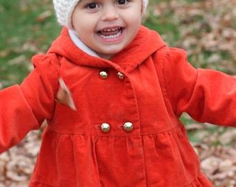 Toddler Gift - Toddler Girls Hat - Crochet Hat - Toddler Girls Winter Hat - Cream Girls Hat - Crocheted Winter Hat - Crochet Hat with Flower