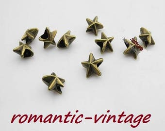 Star 5 beads charms bronze Ribbon, 15 * 15mm