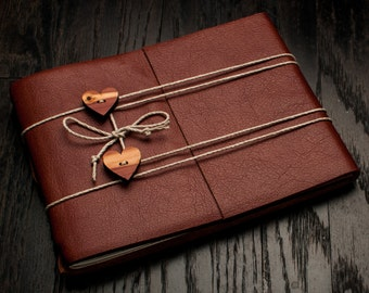 Leather Journal or Leather Sketchbook, Large Sized, Dual Heart Closure, Redwood Brown Leather Handbound Photo Album