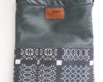 SALE SAMPLE 'No Waste' leather & Welsh wool messenger  - Knot Garden 'graphite'