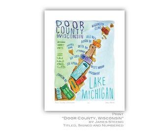 Door County Wisconsin Watercolor Fun Map Art Print by James Steeno