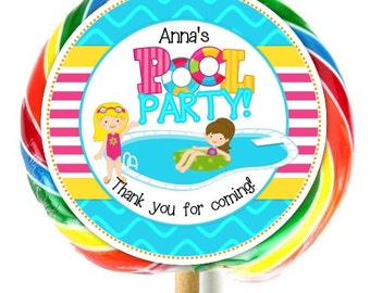 Pool Party, Lollipop Stickers, Pool Party Birthday Decoration Stickers, Extra Large Personalized Stickers, Fit on WHIRLY LOLLIPOPS