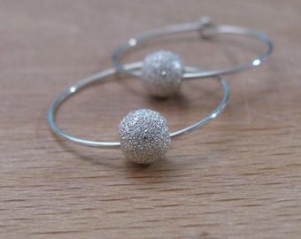 Silver hoop earrings, ball earrings, silver earrings, hoop earrings, bead earrings, hoop earring, sterling silver