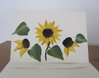 Sunflower card hand painted with Envelope great for Birthday, Mothers day, Get Well, Anniversary. Confirmation, Wedding, Retirement, Baptism