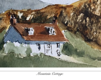 Landscape ORIGINAL Miniature Watercolour Mountain Cottage, ACEO Hills  Watercolor painting For him For her Home decor Wall art Gift Idea