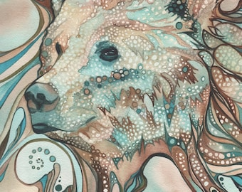 Grizzly Bear 5 x 7 print of watercolour art in whimsical psychedelic rust brown aqua turquoise teal earth tones, shamanic