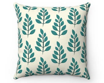 Teal Leaves on Vanilla Pillow Cover | Teal Leaf Pillow Cover | Teal Plant Pillow Cover | Teal Throw Pillow Cover | Decorative Pillow