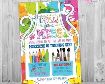Painting Party Invitation, Art Party Invitation, Art Birthday Party Invitation, Art Themed Party, Paint Party Invites, Painting Party
