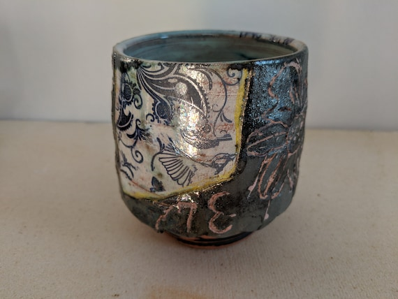 Handmade Ceramic Tea Bowl with Blue Tattoo