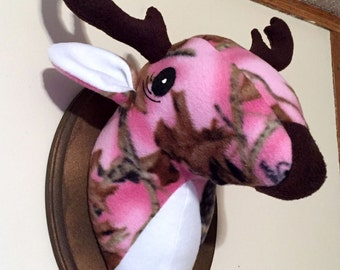 Stuffed Pink deer head / Deer head mount / Faux animal head / Stuffed animal head / Unique Valentine Gifts
