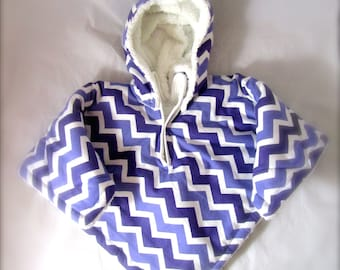 Car Seat Poncho 4 Kozy Kids(TM) pockets, double sided, reversible, opt to add detachable hood & batting, safe, warm-purple and white chevron