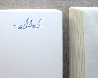 Flat Card Set with Letterpress Sailboats (vertical)