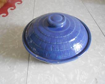 Vintage Blue Pottery Bean Pot