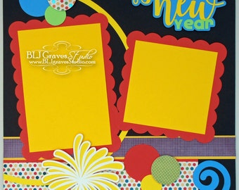 New Years Champagne Premade Scrapbook Page 12x12 Layout Paper Piecing Handmade 35