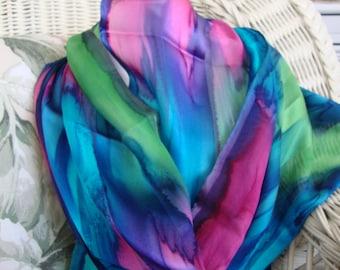 Scarf, Silk, Women, Hand Dyed, Bermuda Triangle Silk Scarf, Blue Lime Purple Turquoise