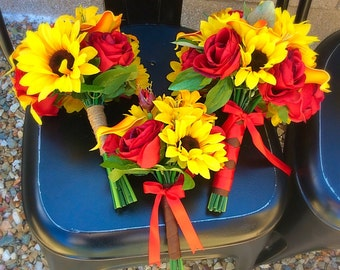 Sunflower & Rose Bouquet Set
