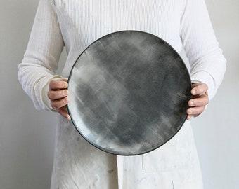 Large Ceramic serving plate, Stoneware serving Platter, Unique plate, Pottery Serving dish, White Ceramic Plate, Housewarming Gift