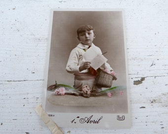 Antique 1900/1910s postcard  French real photo recolored adorable boy First of April