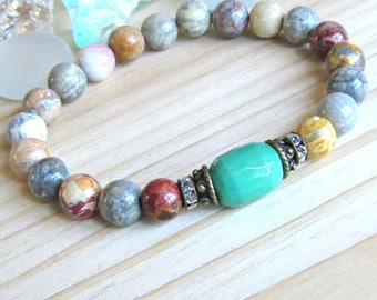 Chrysoprase Bracelet, Sky eye Jasper, beaded bracelet, Reiki Bracelet, healing, intention, energy, reiki, green, stretch, mala, crystals