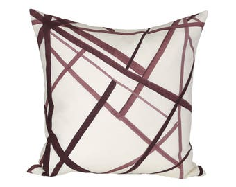 Channels Plum/Oat designer pillow covers - Made to Order - Kelly Wearstler
