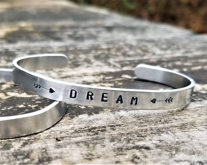 DREAM: Hand Stamped Metal Cuff Bracelet, Aluminum