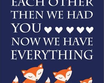 Fox Nursery Art, Orange and Navy Blue Nursery, Fox Nursery Decor, Woodland Nursery Art - 8x10