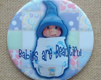 Baby Shower Favor, Midwife, Doula Gift Idea, Big Fridge Magnet, 3.5-Inch Magnet, Cute Sculpted Baby, Polymer Clay, BABIES are BEAUTIFUL