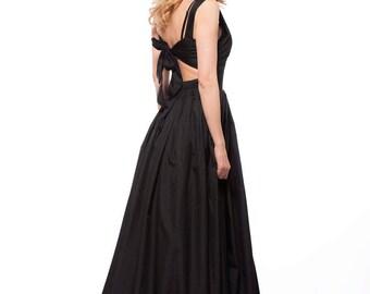Long Black Cotton Dress, Maxi Dress, Party Dress, Party Elegant Dress, Summer Extravagant Dress by Astraea-4016T