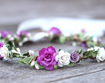 Flower Crown, Lavender Flower Crown, Magenta Flower Crown, Floral Hair Piece, Wedding Flower Crown, Bridal Headpiece, Flower Girl Crown
