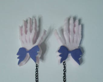 Skeleton Hands, Sweater Clips, Dress Clips, Cardigan Clips, Sweater Guard, Pastel Goth Jewelry, Creepy Cute Jewelry, Odd Jewelry, Unusual