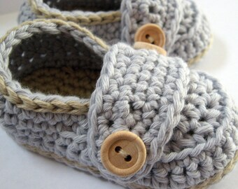 Crochet Baby Booties  Organic Cotton Little Button Loafers - U PICK SIZE and colors