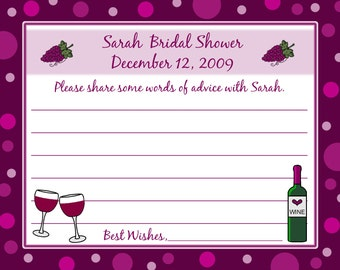 24 Bridal Shower Advice Cards  - Wine Themed Bridal Shower - Wine Wedding Shower