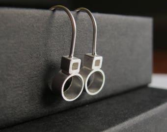 Geometric Earrings, Silver Drop Earrings, Sterling Silver Earrings, Small Drop Earrings, Circle Square Earrings, Mirjam Earrings