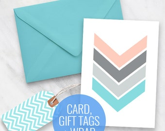 Printable Card, Gift Tags and Gift Wrapping Set - Chevron Design - printable greeting card, printable gift tags, printable stationery