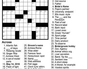 Personalized Crossword - Perfect for Weddings, Anniversaries, Birthdays, and More!
