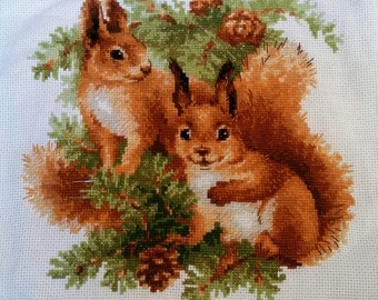 Cross stitch pattern PDF animals, Cross stitch pattern PDF squirrel, Cross stitch pattern PDF squirrels