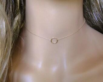 Karma or tour de cou Collier, collier de l'éternité or massif 14K, infini, cercle de 10mm délicate de solitaire, superposition grand collier