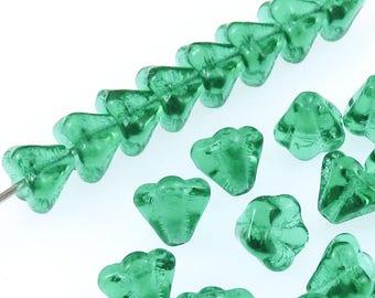 Czech Glass Baby Bell Flower Beads-Teal Green 4x6mm (50 Pcs)