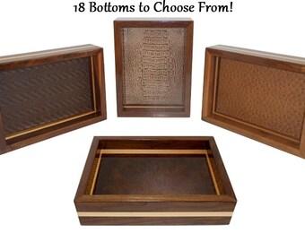 Men's Valet Box / Tray Walnut with Maple Stripe