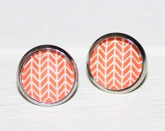 Round Glass Cabochon Stud Earrings 12mm Orange Pane Pattern Hypo Allergenic Surgical Steel Nickel Free