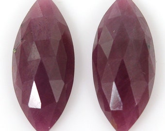 Ruby Rose Cut  11.40cts 100% Natural Ruby Gemstone Marquise Rose Cut Slice 18.5*8*4h Pair For Earring 104/26