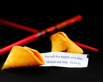 Fortune Cookie Personalized Print- YOU Choose message- Unique Gift for Weddings, Anniversaries, Valentine's Day, Birthdays