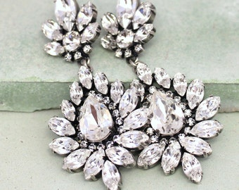 Bridal Earrings, Bridal Statement Earrings, Chandelier Earrings, Bridal Victorian Earrings, Swarovski Earrings, Chandelier Long Earrings,