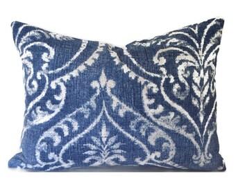 Lumbar Pillow Cover ANY SIZE Decorative Pillows Blue Pillow Damask Pillow Mill Creek Dalusio Damask Denim