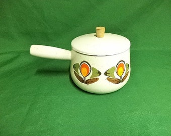 Vintage Enamel Pan, Enamel Saucepan, French Enamel Pan,Retro Camping Pan, Vintage Kitchen, Vintage Camping, Shabby Chic  (ref 311EF)