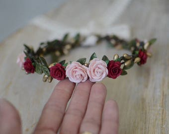 Christmas flower crown, Burgundy red blush flower crown, flower crown, floral halo,baby flower crown,maternity crown, flower girl crown